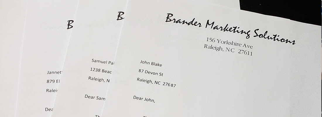 Letterheads for Variable Data Printing, Raleigh, NC